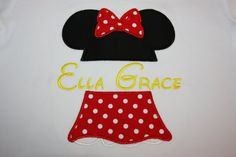 Minnie Mouse Ears and Skirt Appliqued Shirt with Monogram - Fully Customizable on Etsy, $27.00