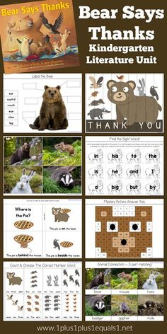 Thankful Theme Kindergarten Literature Unit based on the book Bear Says Thanks. Sequencing Activities, Kids Learning Activities, Preschool Themes, Homeschool Kindergarten, Kindergarten Reading, Homeschooling, Ninja, Learning Time, Early Learning