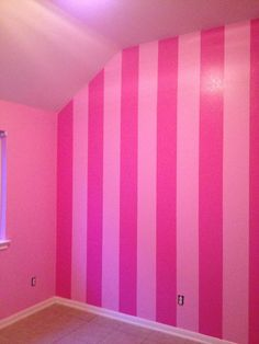 Pink striped wall.