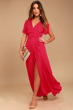 Lulus Exclusive! We're forever grateful we found the Lulus Much Obliged Red Wrap Maxi Dress! Gauzy woven rayon drapes into a sultry surplice bodice, framed by fluttering short sleeves. Wrapping maxi skirt secures via hidden, internal ties and an adjustable waist tie. #lovelulus Red Wrap Dress, Maxi Wrap Dress, Dress Skirt, Bodycon Dress, Mesh Dress, Dress Prom, Dress Wedding, Ruffle Dress, Skater Dress