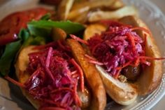 Try Saints in Oklahoma City's Plaza District for Irish food like Banger Dogs, Irish banger sausages topped with sweet pickle relish, stone ground mustard, and a side of roasted fingerling potatoes.
