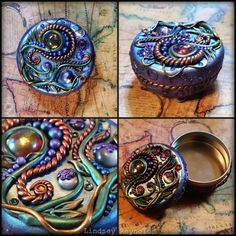 Polymer clay treasure box by EastoftheSunStudio