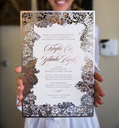 Hot Trends: Fall in Love with These Super Unique Laser Cut Wedding Invitations Love this! Probably could add some ocean blues to it to go with a Ventura Beach Wedding theme! Laser Cut Wedding Invitations, Wedding Stationary, Wedding Invitation Cards, Wedding Cards, Laser Cut Invitation, Creative Wedding Invitations, Beautiful Wedding Invitations, Perfect Wedding, Dream Wedding