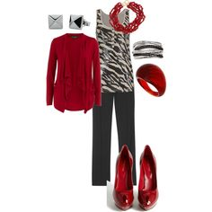 love the zebra print with red... sweater has too much drape for me