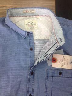 Mens denim shirt Ice washed Shirt. Inside detailing  vintage hangtag