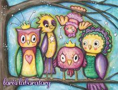 Watercolor Quirky Birds Mixed Media Art - Info & Supplies at: http://lorislaboratory.com/2016/03/11/quirky-bird-mixed-media-painting/   #lifebook2016 #mixedmedia #art #artist #birds #owl #whimsical #watercolor #coloredpencil #artjournal