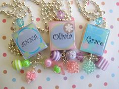 PERSONALIZED Scrabble Tile girly Girl Bottle Cap Necklaces by emtabby, $10.00