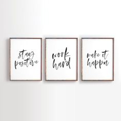 Jobs From Home Discover Stay Positive Work Hard Make it Happen Printable Art Motivational Printable Inspirational Printable Office Decor office art Set of 3 Office Wall Decor, Office Walls, Office Artwork, Work Cubicle Decor, Office Signs, Work Office Decorations, Small Office Decor, Office Prints, Modern Office Decor