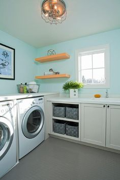 Turquoise Laundry Room with Gray Penny Tiled Floors, Contemporary, Laundry Room