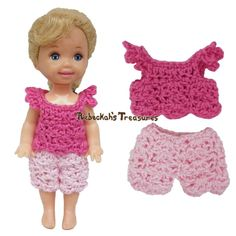 Simple Top 6 + Shorts 6 ~ Pretty in Pink Free Crochet Pattern for Children Fashion Dolls by Rebeckah's Treasures