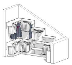 Room Closet, Walk In Closet, Attic Inspiration, Laundry Solutions, Attic House, Loft Design, Home Staging, Dressing Room, Space Saving