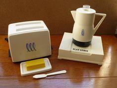 EUC vintage toy Coffee Maker/Pot, Stove, Toaster, Butter Dish + Knife – Amsco #Amsco