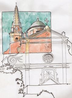 Urban Sketchers: Travel to Kallisté.... nice loose sketch, love the small square of color.