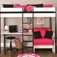 photos of metal frame for loft bed with futon and desk