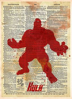 Hulk smash! Minimalist splatter art style print of the big guy! These unique and original artwork are printed on authentic vintage early 1900's dictionary paper from books i have rescued from booksell