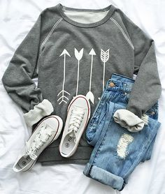 Arrow sweatshirt, $24.99! Free shipping & Easy Return + Refund! Expose your body in this casual sweatshirt, it won't fail your expectation! Make you fashionable all time! Find more at http://Cupshe.com !