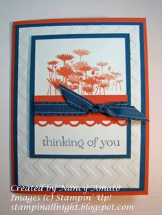 handmade card ... red, white and blue ... resized Upsey Daisies ... like the texture from the chevron embossing folder ... Stampin' Up!