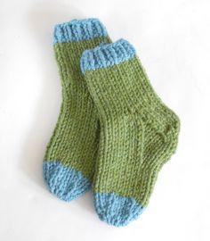 Slipper Socks - hmm, maybe thicker yarn will make first pair of socks easier?!