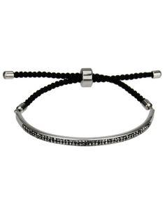 Pulseira prateada cordão preto ajustável mini strass grafite
