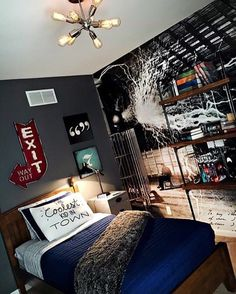 Teen boy industrial bedroom....