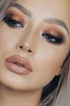 Pageant and Prom Makeup Inspiration. Find more beautiful makeup looks with Pageant Planet. Pageant and Prom Makeup Inspiration. Find more beautiful makeup looks with Pageant Planet. Smokey Eye Makeup, Eyeshadow Makeup, Hair Makeup, Bronze Eye Makeup, Beauty Makeup, Bronze Eyeshadow, Glitter Eyeshadow, Makeup Younique, Beauty Desk