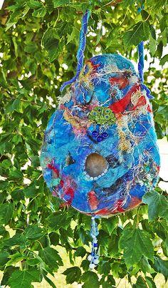 Felted Bird House Felt Birds, Felting, Backyard, Gardening, Inspirational, Christmas Ornaments, Holiday Decor, House, Art