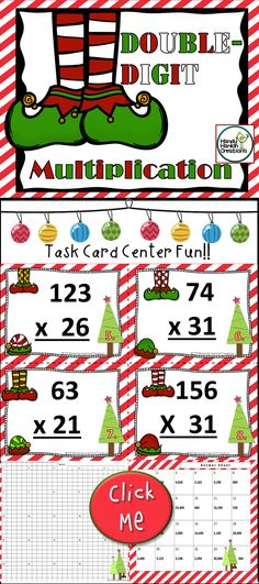 Double Digit Multiplication Elfin Christmas Theme Great for small group centers, whole group or independent learners!