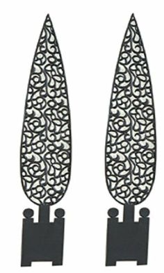 Black Metal Topiaries Wall Décor (set of 2) by In the Garden and More. $44.95. Elegant for any room in the home. Can be used outdoors in a protected area. Made of metal with black antique finish. Size is 31 inches tall x 6.5 inches wide. Comes as a set of two. This lovely set of wall topiaries will give any wall an accent that is beautiful and welcoming. They can be used outdoors in a protected area and maybe even a coat of polyurethane to keep them beautiful....