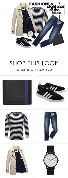 """""""Fashion Trend - A Slight Case Of The Blues"""" by latoyacl ❤ liked on Polyvore featuring Valextra, adidas Originals, Versace, Skagen, men's fashion and menswear"""