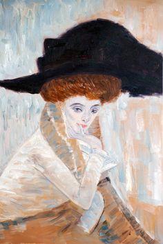 Black Feather Hat - Gustav Klimt