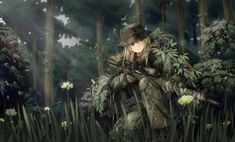 Anime 1760x1065 TC1995 anime anime girls original characters military weapon camouflage ghillie suit sniper rifle gun MP7 forest soldier fantasy art manga