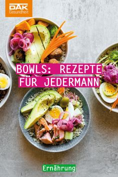 Discover the new food trend: bowls! The special thing about it: Here are many healthy foods in one bowl. # healthy food Bowls: recipes for everyone DAK-Gesundheit dakgesundheit Food Discover the new food tre Lunch Recipes, Healthy Dinner Recipes, New Recipes, Healthy Nutrition, Healthy Life, Healthy Foods, New Food Trends, Easy Vegan Lunch, Clean Eating Chicken