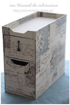 Le tiroir a été achevée ☆: ichimière temps main Cardboard Paper, Cardboard Furniture, Cardboard Crafts, Decoupage, Big Gift Boxes, Cardboard Organizer, Fabric Covered Boxes, Craft Bags, Sewing Box
