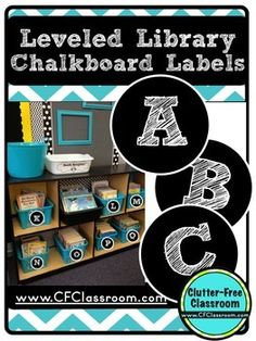 """This packet contains the printables needed to label your classroom library book baskets, bins or boxes by guided reading level. They are a black and white printable. You could also use them as word wall headers.   Please visit my blog, <a href=""""www.CFClassroom.com"""">THE CLUTTER-FREE CLASSROOM</a> for daily tips and photos to organize and manage your classroom."""