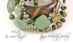 Tanya Lochridge Jewelry Green Aventurine, Prehnite & Pearl Gemstone Bracelet stacked with a vintage wood bangle from my personal collection. #tanyalochridgejewlery