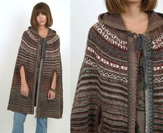 70's Ethnic HOODED Knit Sweater Poncho CAPE Shawl Hippie