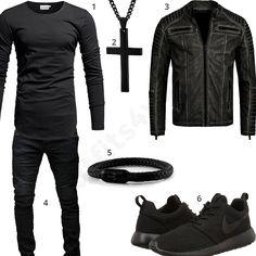 Schwarzes Herren-Outfit mit Crone Longsleeve, Kreuz, Redbridge Lederjacke, Fischers Fritze Armband, Nike Roshe und Hose. Jetzt ansehen.