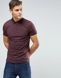 ASOS Polo Shirt In Burgundy - Red