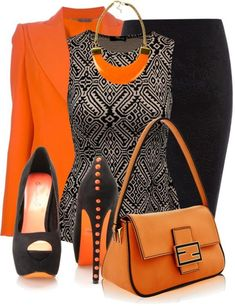 My favorite outfit, hands down! Nice Orange and Black schemed Work Outfit Mode Outfits, Fashion Outfits, Womens Fashion, Fashion Trends, Skirt Outfits, Fashion Styles, Fashion Ideas, Fashion Tips, Mode Chic