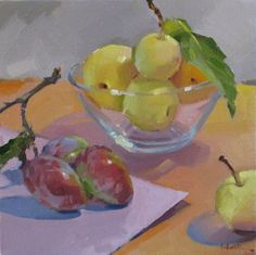 Plums and Asian Pears fruit food art still life oil daily painting and color palette, painting by artist Sarah Sedwick