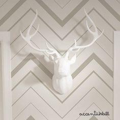 Chevron Bold Grey Peel & Stick Fabric Wallpaper by AccentuWall, $35.00