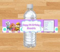 Paw Patrol Water Bottle Labels, Paw Patrol Water Bottle Wrappers, Paw Patrol Birthday, Paw Patrol Party, Everest Labels, Skye Labels by MyBabiesBreath on Etsy https://www.etsy.com/listing/226304436/paw-patrol-water-bottle-labels-paw