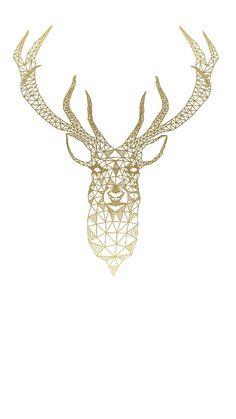 Minimal gold white Reindeer antlers iphone wallpaper phone background lock screen