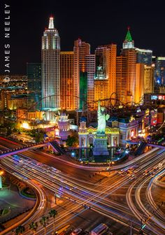 Night Time view of the famous New York, Ny Hotel and Casino, Las Vegas - Photo by James Neeley