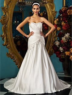 trompete / sereia namorada vestido de noiva de cetim – BRL R$ 349,86