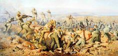 New Zealand troops engaging a Turkish charge at the Battle of Chunuk Bair, Gallipoli Campaign, WWI