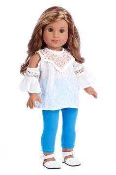 518a42bc5acaa8 Trendy Girl - Doll Clothes for 18 Inch Dolls - 3 Piece Doll Outfit - White  Cotton Blouse