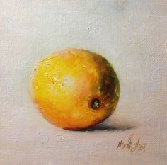Lemon Still Life Original Oil Painting by Nina R.Aide Still Life Kitchen Art Small Daily Painting Home Wall Decor