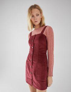 a53a5a78bc Corduroy pinafore dress - New - Bershka United States