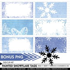 Painted Snowflake Tags - Textured Digital Clip by TheDigitalStash on Etsy